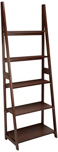 AmazonBasics – Estantería escalonada de estilo moderno con bastidor de madera de caucho macizo, Nuez