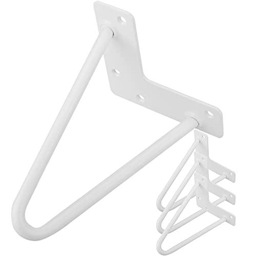 PrimeMatik - Pies para Mesa y Mueble Patas en Acero 2 Varillas 15 cm Blanco 4-Pack