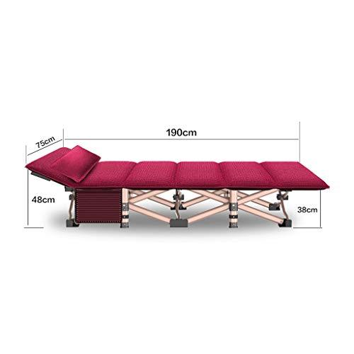 GLLT Faltbares Campingbett mit Matratze, tragbares Feldbett, Tragkraft bis 260 kg, 190 x 75 x 36 cm, Bett- und Matratzensets Mit Seitentaschen , Mit Kissen (Color : Red)