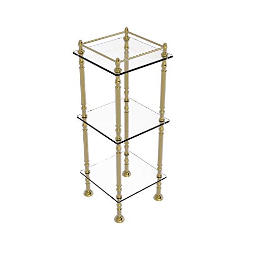 Great Deal! Allied Brass ET-14X143TGL Three Tier 14 Inch x 14 Inch Shelves Etagere, Unlacquered Bras...