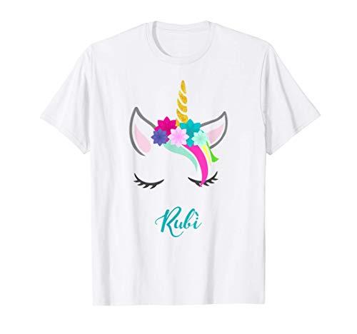 T-Shirt Personalizada Nombre Rubì Unicornio Camiseta