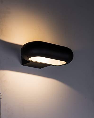 ZEYUN wandlamp antraciet 7W binnen buiten wandverlichting van gegoten aluminium warmwit 3000K 550lm