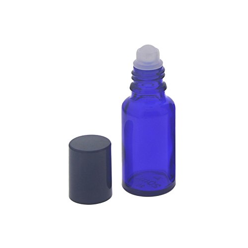 Blauglas Deostick 20ml, leere blaue Flasche mit Deo-Roller und Kappe, zum Selbst befüllen, ca. 87 x Ø 28 mm, Kosmetex, 1 Stück, 1 x 20ml