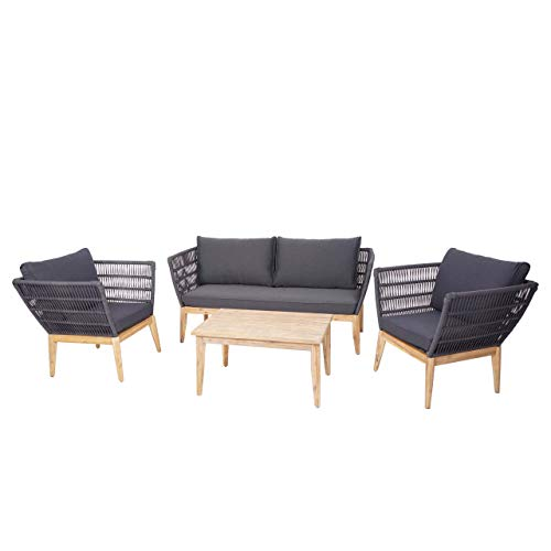 Mendler Gartengarnitur HWC-H55, Lounge-Set Sofa Sitzgruppe, Seilgeflecht Massivholz Akazie Spun Poly - Kissen dunkelgrau