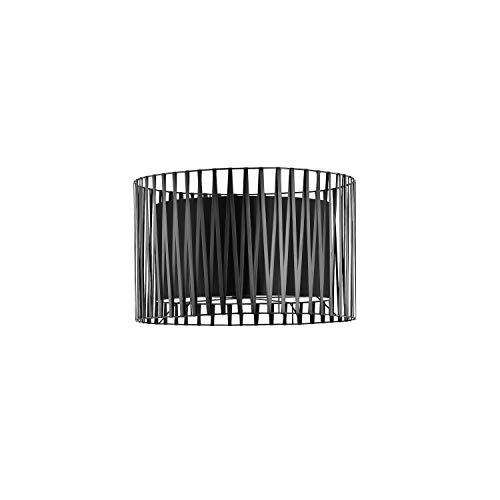 Großer Lampenschirm für Stehlampen Fassung E27 Schwarz Ø40cm Zylinder Metall Stoff Schirm MINA