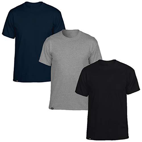 Kit com 3 Camisetas Masculinas Básicas Algodão T-Shirt Slim Tee – Slim Fitness Fashion - Preto - Cinza - Marinho – GG