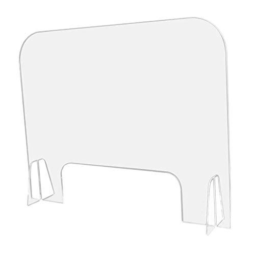 F Fityle Acryl Schutzschild mit Durchreiche | Thekenaufsatz Niesschutz Spuckschutz Hustenschutz Schild für Schule, Büro, Hotel, Geschäft, Nagelstudio - 40 x 40 cm