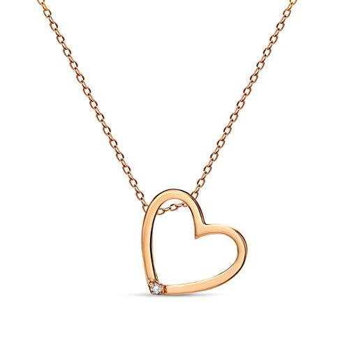 Miore Damen-Halskette mit Herz-Anhänger - Kette aus 9 kt. Rotgold mit 0,01 ct. Diamant - Halsschmuck 45 cm lang