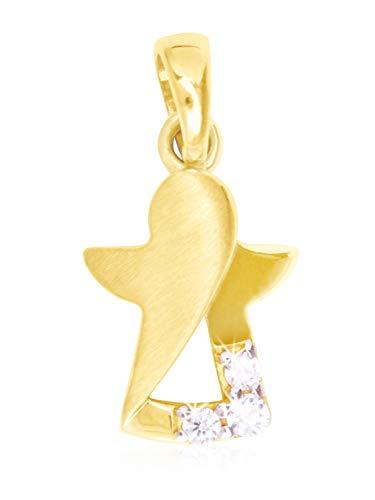 MyGold Schutzengel Anhänger (Ohne Kette) Gelbgold 333 Gold (8 Karat) Engel Mit Zirkonia 14mm x 8mm Goldengel Modern Angel V0012444