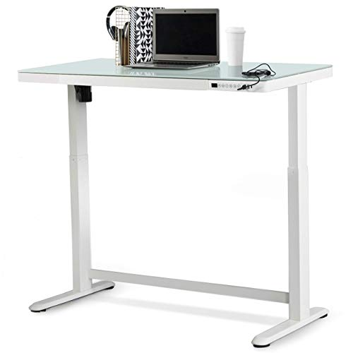 "Jefferson Electric Height Adjustable Standing Desk with Drawer, 47.37"" x 23.75"" Glass Desktop, USB and USB-C, Motorized Uplift, Built-in Ergonomic Memory Controller Keypad (White)"