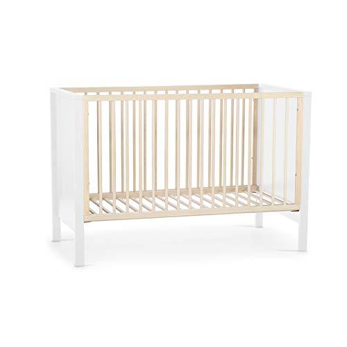 Kinderkraft Kinderbett MIA, Babybett aus Holz, Gitterbett, Bettumrandung, 3 Stufen Höhenverstellbar, von Geburt bis zu Höhe 120 cm, Weiß