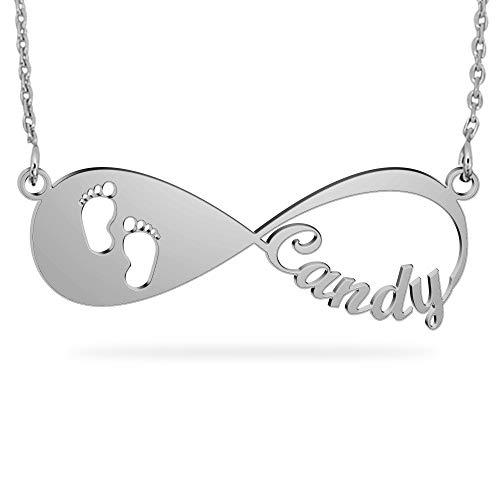 JOELLE JEWELRY Unendlichkeit Namenskette mit Baby Gravur Fußabdruc 925 Sterling Silber