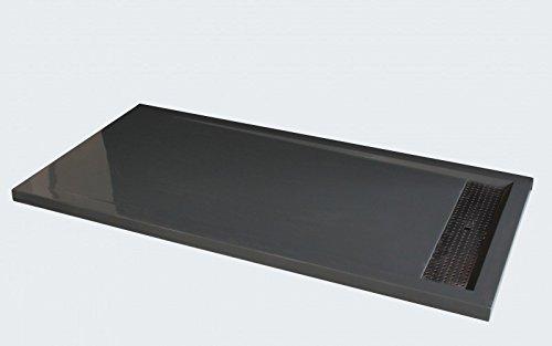 Bernstein Badshop Duschtasse rechteckig Duschwanne 1480BG Mineralguss Edelstahl - Grau glänzend - 140x80x4,5cm