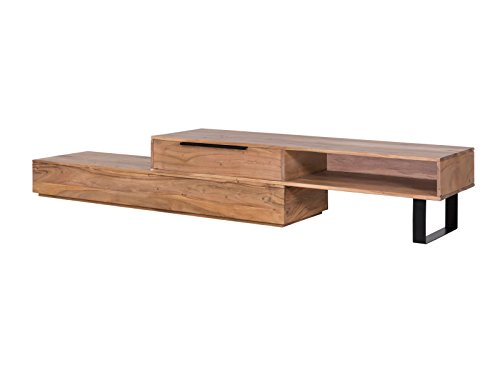 Woodkings® TV Bank Auckland variabel, Lowboard aus massiv Holz Natur, TV Möbel flexibel stellbar, Wohnwand variabel, Fernsehbank modern (Holz - Akazie, 1 Schub)