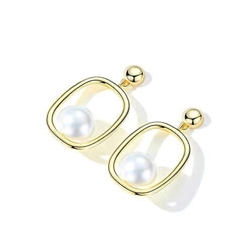 WPJ Pendientes de Plata esterlina Pendientes Colgantes Cuadrados de Mujer Vintage Oro/Pendientes de Perlas de imitación de Plata para niñas (Color : Gold)