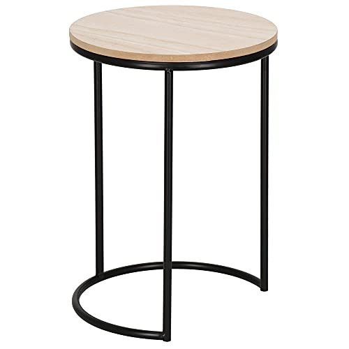 SPRINGOS Loft - Mesa de café redonda (metal, 36 cm), color negro