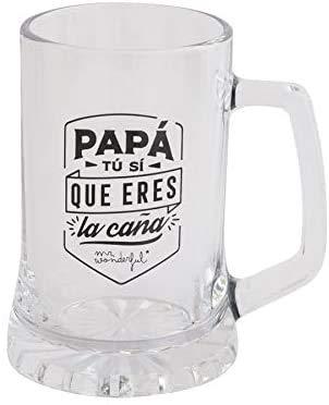 Jarra de Cerveza Personalizada Día del Padre, BANDA CON CORONA Regalo Pegatinas y Personalizado para Hombre o Mujer, Obsequio Celebraciones Cumpleaños Aniversarios Día del Padre (E)