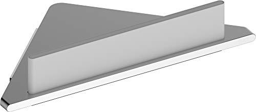 KEUCO Eck-Duschablage aus Aluminium, silber eloxiert, inkl. Glas-Abzieher, weiß, 24,2x24,5x6,3cm, Wandmontage in der Dusche, Duschregal, Edition 400