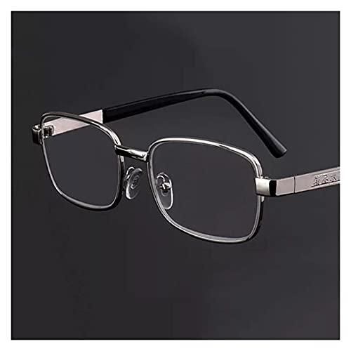 yqs Gafas de Lectura Gafas de Lectura Femenina Gafas de Lectura de Marco Completo Gafas de Lectura de Cristal Antifatigue Anti-Radiación HD Lecturas de Lectura (Color : Silver, Size : +150)