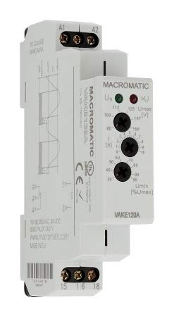 Macromatic Voltage Sensing Relay, 120VAC Input Voltage, Contact Form: SPDT, Base Type: DIN Rail - VWKE120A