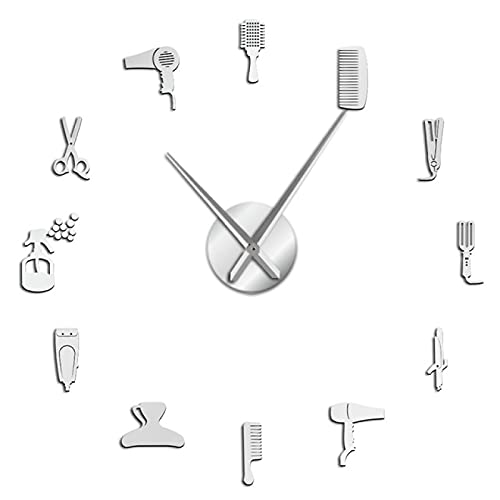 hufeng Wanduhr Barber Shop Hair Tool Große DIY Wanduhr Uhr Aufkleber Rahmenlose Schönheitssalon Große Uhren Friseur Undefined Decor Horologe