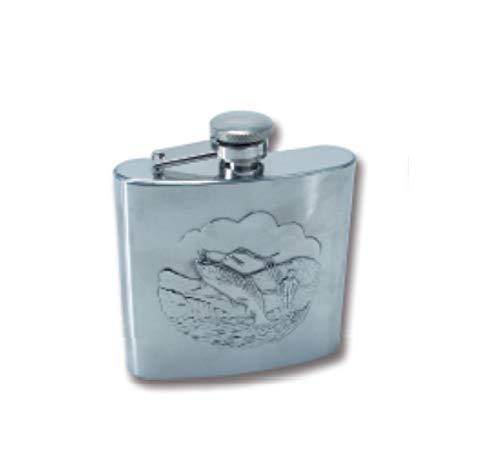 CAMOR Fiaschetta Porta liquore in Metallo con effige Pesca cm.9,5 x 11 x 2,5