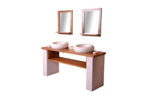 DIVERO Doppel-Waschplatz Badmöbel – Teakholz-Waschtisch dunkel-braun – 2 Aufsatz-Waschbecken Marmor creme hell – 2 Wand-Spiegel mit Teak-Rahmen