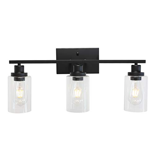 MELUCEE Bathroom Vanity Light Fixtures 3 Lights Wall Sconce Black with Clear Glass Shade for Bedroom Living Room Hallway Kitchen