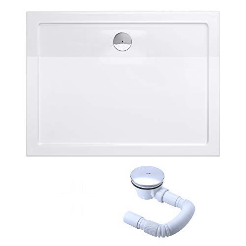 Sogood Bac à douche 90x120 receveur de douche rectangulaire blanc acrylique Faro2 90x120x4cm + bonde AL01