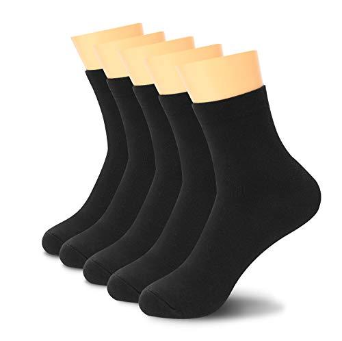 Lantch 5 paires de socquettes! - chaussettes sport longues ,l'utilisation quotidienne Chaussette Hommes et Femmes socquettes (Noir 5 Paires, 39-44)