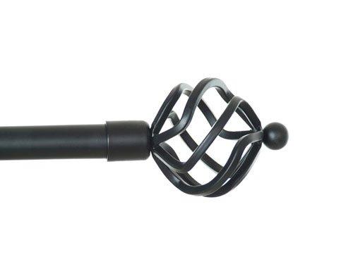 Gardinenstange Spheric von Debel (2719301), aus Metall, Weiß/Gold, 90-160cm, Schwarz, 90-160 cm