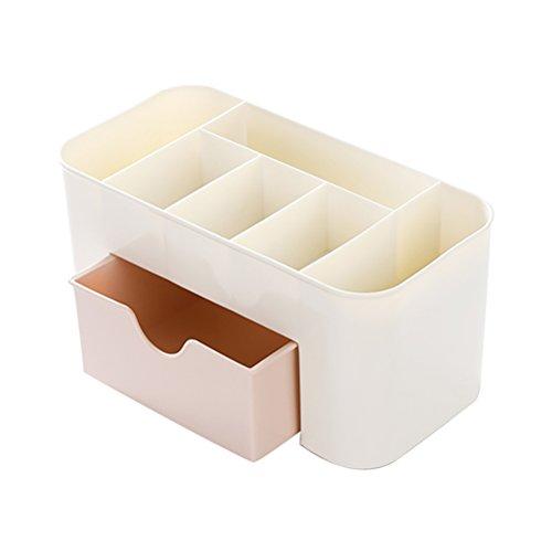 OUNONA Comestics Organizador de maquiagem Desktop Cosmetics Porta-maquiagem caixa de armazenamento com gaveta (rosa)