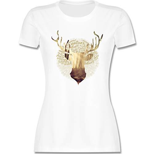 Oktoberfest Damen - Hirsch - M - Weiß - Tshirts mit Druck Damen - L191 - Tailliertes Tshirt für Damen und Frauen T-Shirt