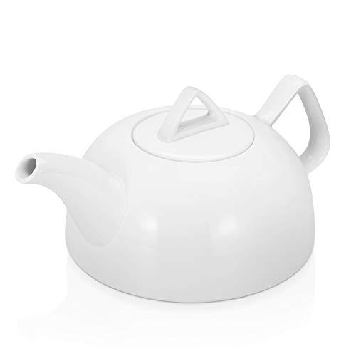 Flexzion Teiera in Porcellana, Teiera in Ceramica Coperchio Rimovibile, Set per servire 3-4 Tazze da tè e caffè, Stile Classico Inglese Moderno, Sicure microonde e lavastoviglie - 890 ml, Bianca
