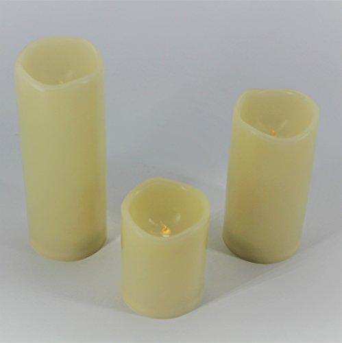 Home Point 3er Set Romantische LED Kerzen - Größe 10 cm / 15 cm / 20 cm hoch - dekorative und stromsparende LED Technik inkl. Timer - Kerze flackernd - für Innen und Außen - Outdoor