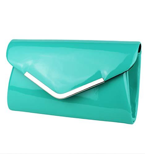 Schompi Bolso Tipo Clutch Para Mujer, Con Cadena De Hombro Desmontable, Charol, Color:Turquesa