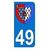 Autocollant 49 avec blason Pays de la Loire plaque immatriculation Moto (6,3 x 2,9 cm)