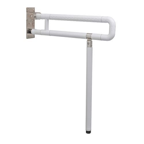 Doble Barra Asidero Abatible y Regulable,Barra auxiliar para baño, ,Barra abatible de baño para minusválidos, Doble asidero de baño con pie, Barra de apoyo para mayores con altura regulable
