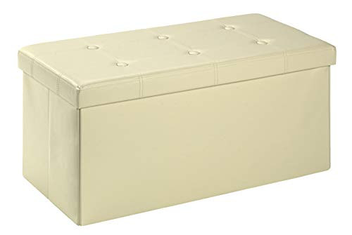 D&D Quality Puff Almacenaje, Asiento Acolchado, 76 x 38 x 38 cm, Plegable - Exterior Polipiel Suave - Carga Máxima de 300 kg (Beig)