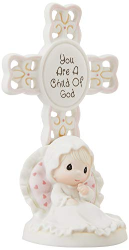 """Precious Moments, Baptism Gifts, """"You Are A Child Of God"""", Bisque Porcelain Cross, Girl, #4004681"""