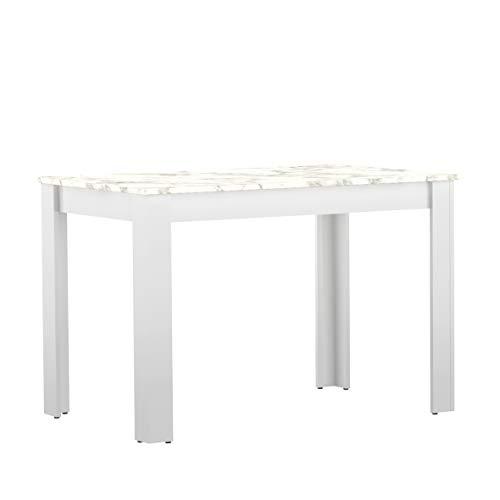 Table Nice, Particle Board, Bianco E Effetto Marmo, 110 x 70 x 73,4 cm (LxPxA)