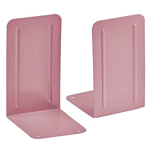 Acrimet Premium Metal Bookends (Heavy Duty) (Pink Color) (1 Pair)