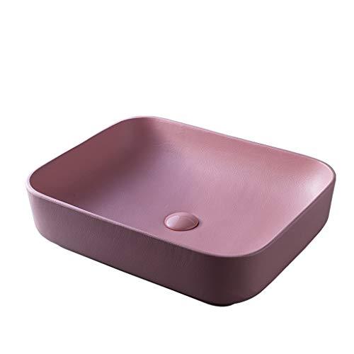 Lavabo de piedra,Cuenca sanitaria Lavabo del baño Lavabo sobre encimera Lavabo óvalo de cerámica (Color : Pink)
