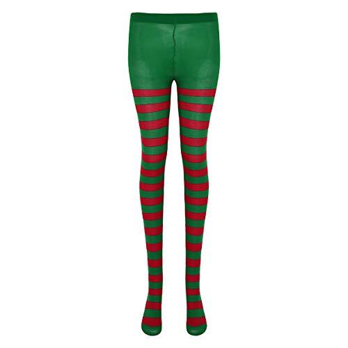 iEFiEL Unisex Zweifarbige Strumpfhosen Fitness Leggings Hose Kompressionshose Lang Tight für Damen Herren Kostüm Fasching Karneval Zubehör Streifen Grün & Rot One Size