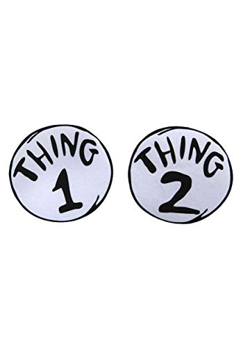 Dr. Seuss Thing 1 & 2 T-Shirt Iron On Large 2 Piece Patch Set Kids Adults Blackwhite