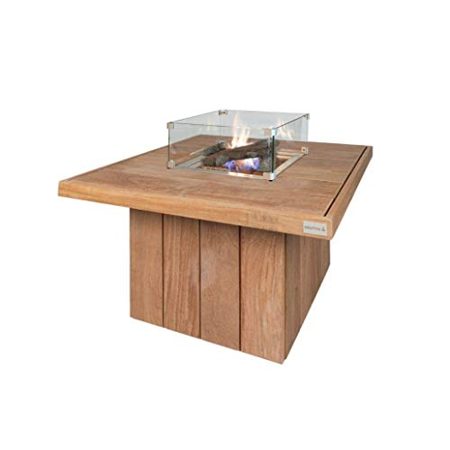 Easyfires Fire Table Excellent Square on Gas Fire Pit, Gas Fire Pit, Patio Fireplace   Square Cumaru Hardwood   95 x 95 x 55 cm