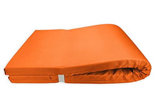 Colchón para Tumbona Impermeable. Cojín 180x60x6 Desenfundable, Cómodo y Elegante. Ideal para Jardín, Piscina, Playa, Terraza y Balcón. (Naranja, 2)