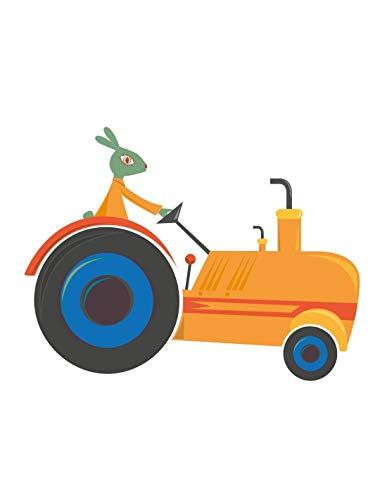 Sticker enfant: Tracteur orange - Format : 100 x 78 cm