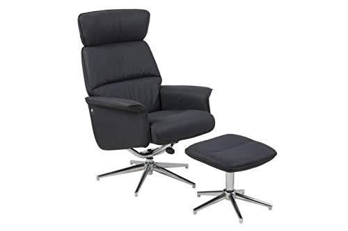 AC Design Furniture Juna fåtöljer med pall, svart, tyg, B: 74 x H: 110 x T: 111 cm, 1 st.