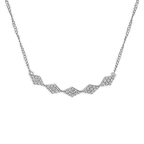 Diamond Bar Necklace for Women of 5 Diamond Shape pattern with Diamond Clusters in 925 Sterling Silver 1/10ct (I-J, I3), 17 inch, by Keepsake
